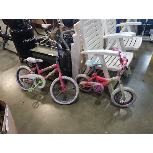 2 pink kids bikes