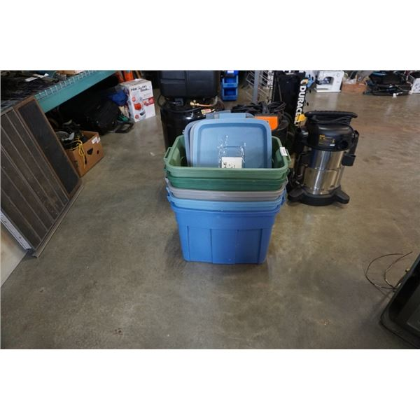 Lot of storage totes with lids