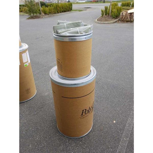 2 cardboard barrels and lot of plastic bags