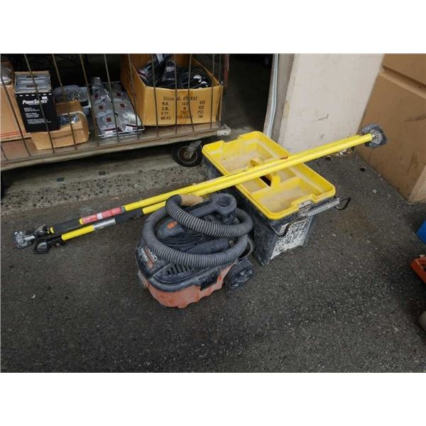 Ridgid shop vac Stanley tool box and two quick support rods
