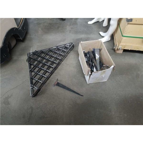 Box of gridwall shelf hooks and mobile gridwall triangle bases