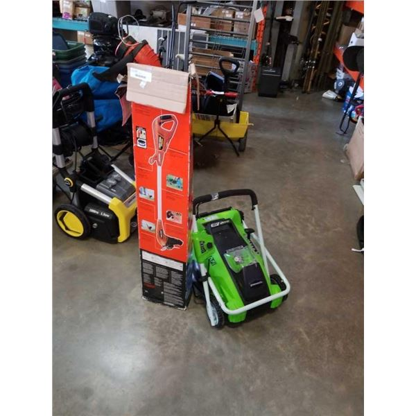 Greenworks 40 v cordless lawnmower no battery, and black and decker weed eater - store returns