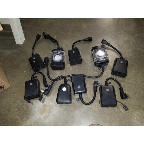 Lot of electrical timers and Wi-Fi plugs