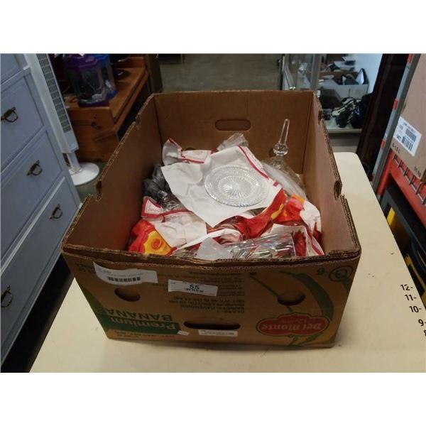 BOX OF CRYSTAL VASES, LIDDED DISH