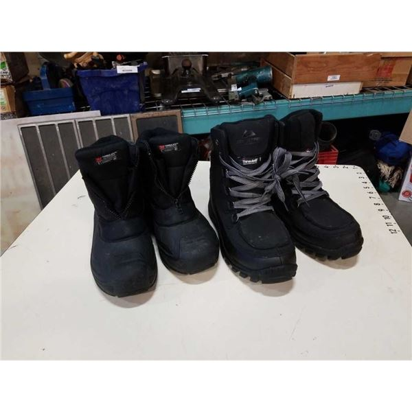 Two pairs of as new 3M thinsulate boots size 9 and 10