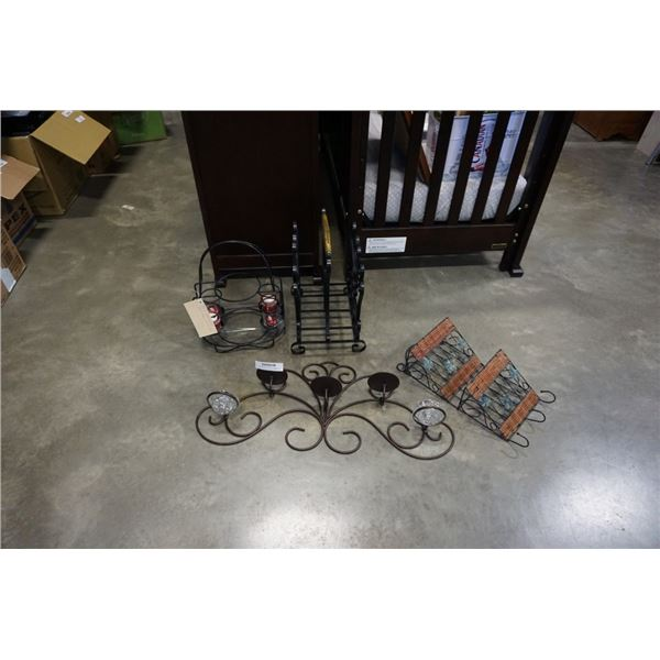 Lot of decorative metal candle holders and more