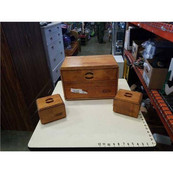 WOOD BREAD BOX WITH COFFEE AND TEA BOX