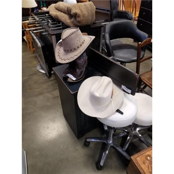 3 COWBOY HATS AND SIZE 8 1/2 COWBOY BOOTS