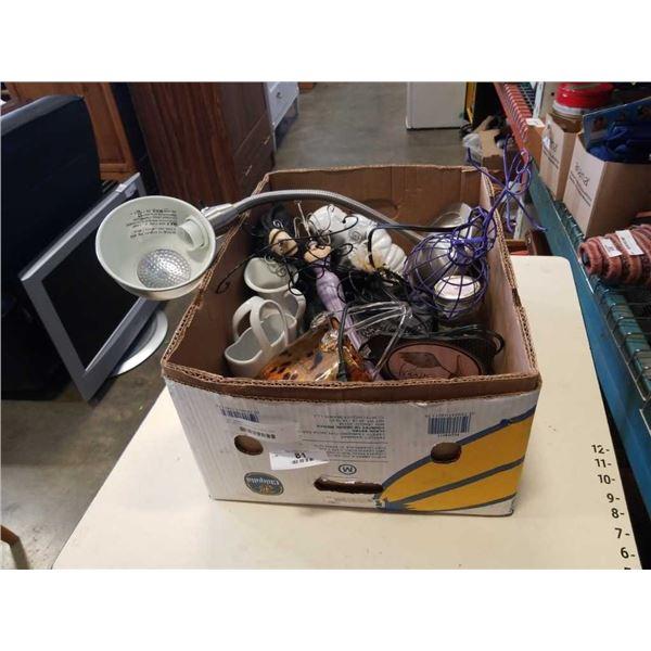 BOX OF DECORATIONS, TABLE LAMP, BUDDAH, ART GLASS BASKET