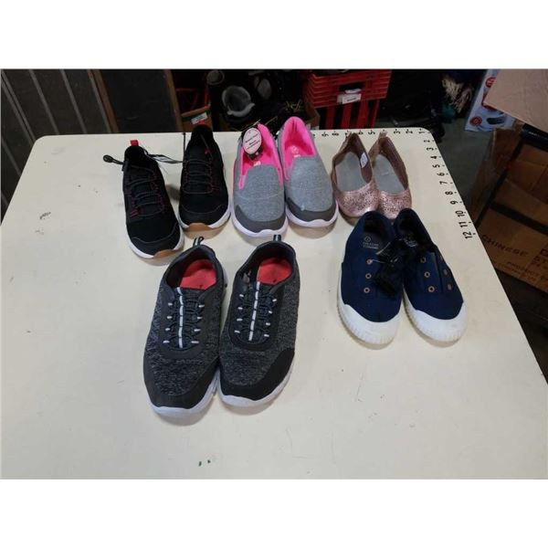 5 pair of kids shoes size 6,4,1,13 and 11