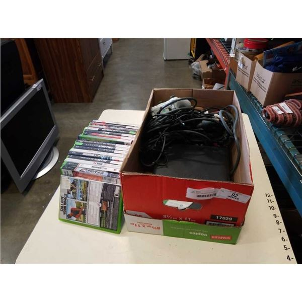 XBOX 360 CONSOLE WITH GAMES, CONTROLLER