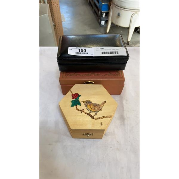 2 LEATHER AND 1 WOOD JEWELLERY BOXES W/ CONTENTS