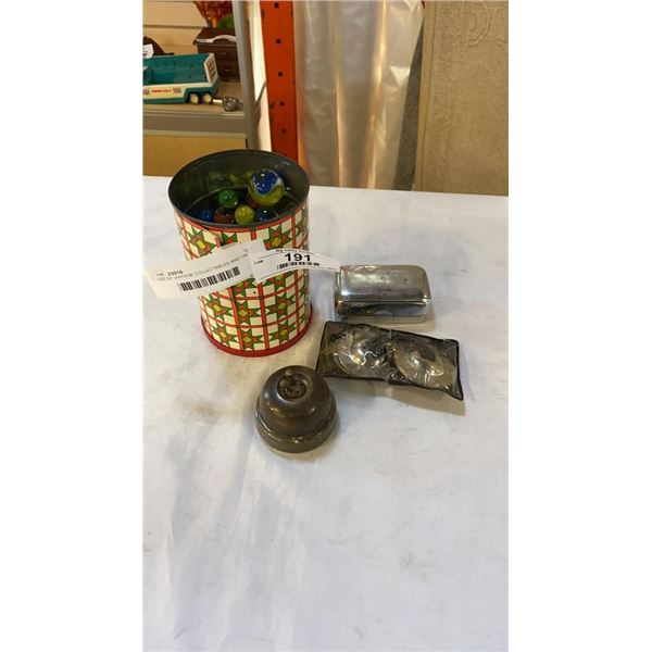 LOT OF VINTAGE COLLECTABLES AND TIN OF VINTAGE MARBLES