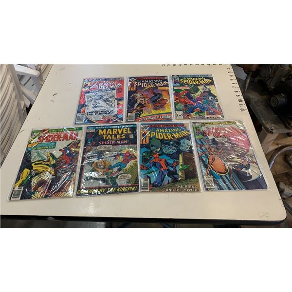 7 bagged and backed collectible spiderman comics