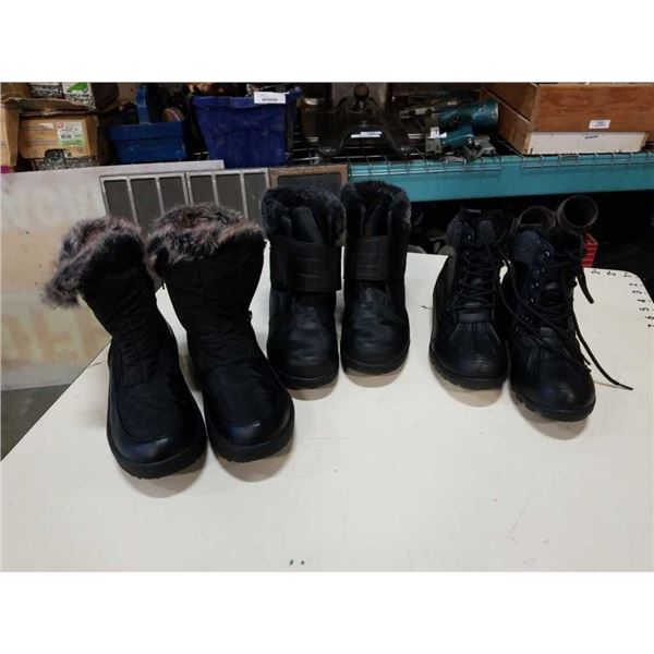 Three pairs of as new ladies boots size 8