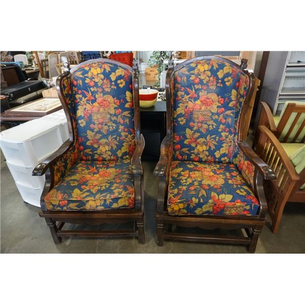 2 WOOD WINGBACK CHAIRS