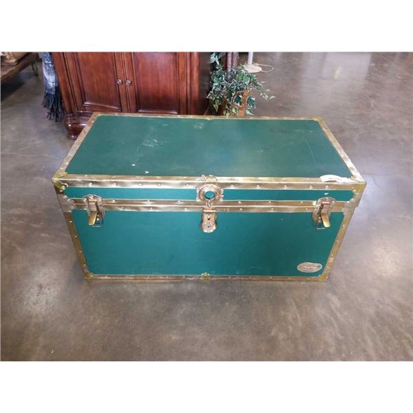 GREEN AND BRASS STORAGE TRUNK
