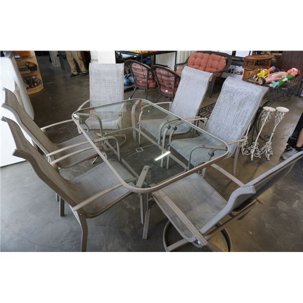 GLASSTOP PATIO TABLE WITH 6 CHAIRS - 2 ARE SWIVEL