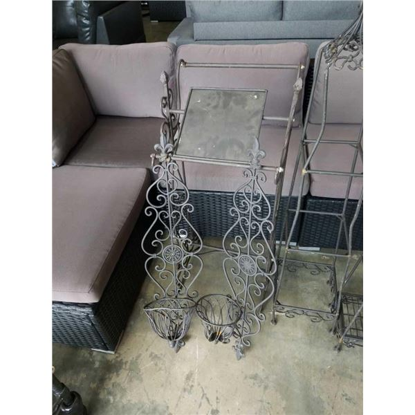 Decorative metal blanket rack and two wall sconces