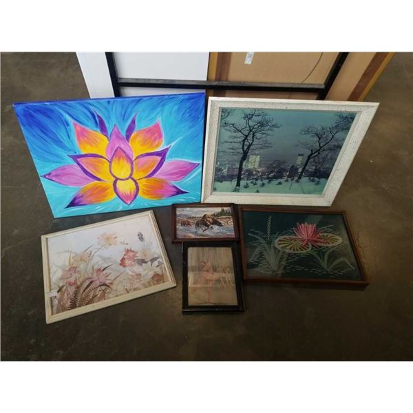 6 PIECES ARTWORK, PRINTS, PAINTING, STITCHED ART