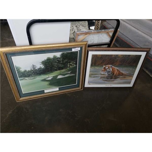 THE LONG PUTT BY ALAN KINGSLAND AND BENGAL TIGER BY DON BALKE PRINTS