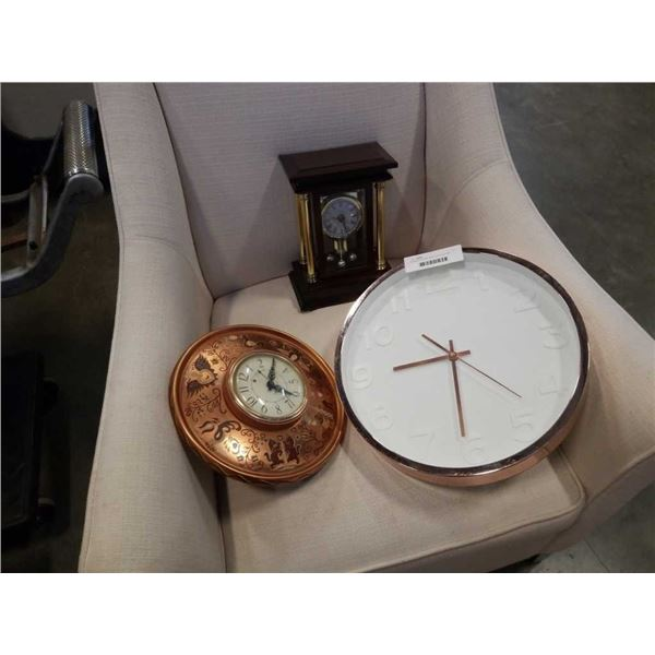 Numbered bombay mantle clock and 2 wall clocks
