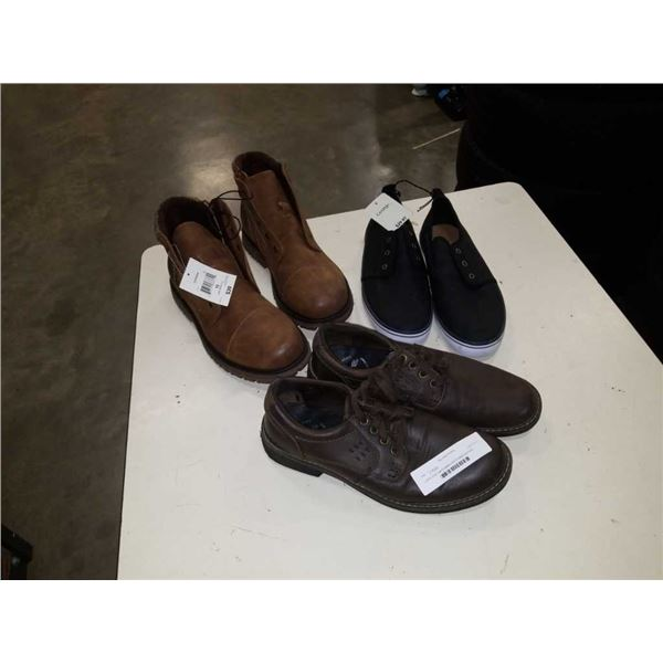 3 pairs of as new footwear size 9 loafers and size 10 boots