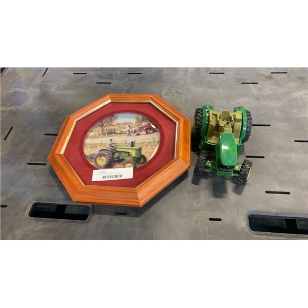 John deere framed plate and tractor