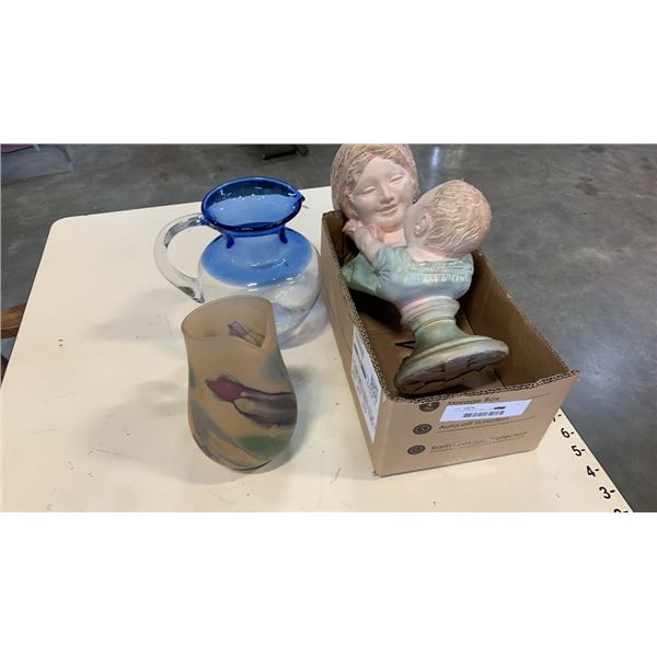 """14"""" bust with 2 art glass jugs"""