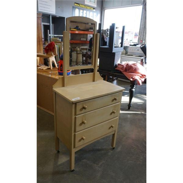 3 drawer vanity desk with bevelled mirror