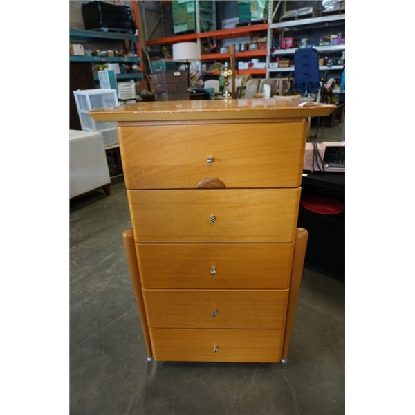 MCM MAPLE 5 DRAWER CHEST OF DRAWERS
