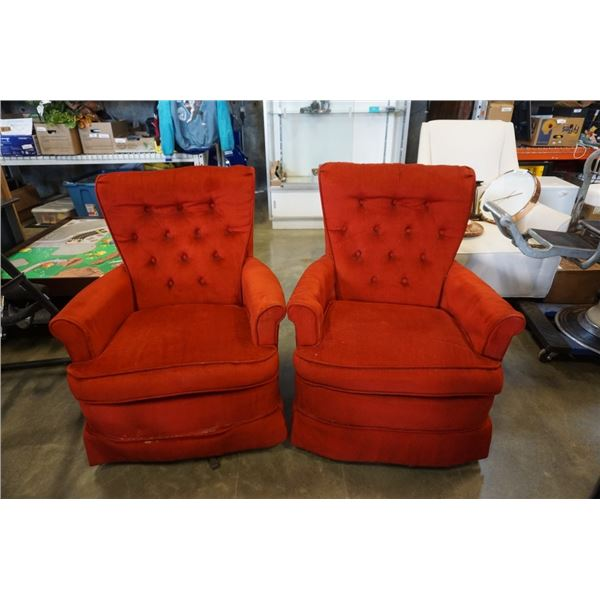 2 RED BUTTONBACK SWIVEL ROCKING CHAIRS