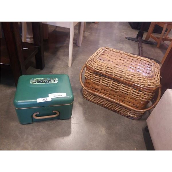 ROPE AND WOVEN PICNIC BASKET AND CAMPER LUNCH BOX