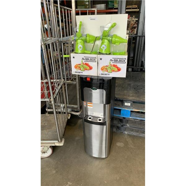 Viva self clean stainless bottom feed water cooler and 2 new raw juicers