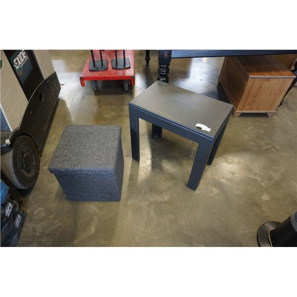 GREY STORAGE BOX AND BLACK PAINTED ENDTABLE