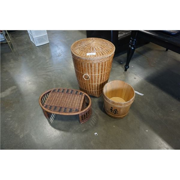 WICKER HAMPER WITH LID, WOOD PAIL AND WICKER SERVING TRAY
