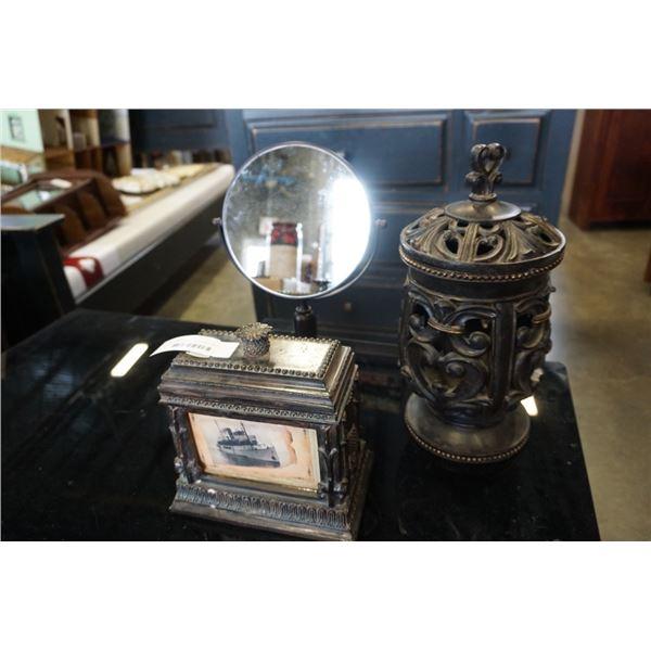 DECORATIVE LIDDED JARD, MIRROR AND DRESSER BOX