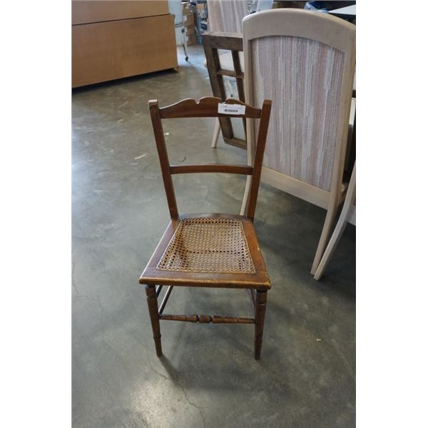 VINTAGE WOOD CHAIR WITH WICKER SEAT