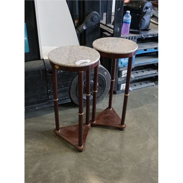2 ROUND STONE TOP ENDTABLES