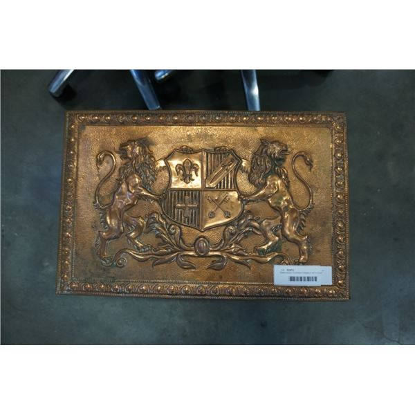 EMBOSSED COPPER FIREBOX WITH COAT OF ARMS AND KNIGHT IMAGERY