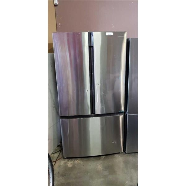 AS NEW HISENSE STAINLESS FRENCH DOOR BOTTOM FREEZER INVERTER FRIDGE WORKING - 3 FOOT WIDE
