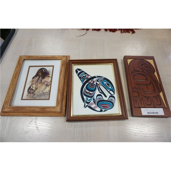 Carved native art and 2 prints