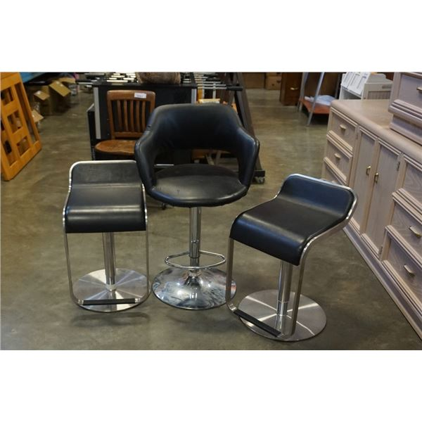 3 GAS LIFT BLACK LEATHER STOOLS