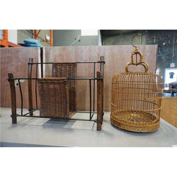 WOOD BIRD CAGE AND WICKER AND METAL MAGAZINE RACK