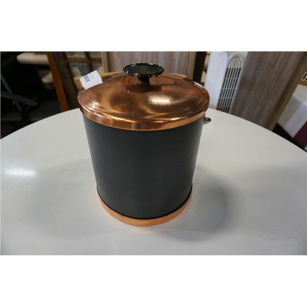 COPPER AND LEATHER ICE BUCKET