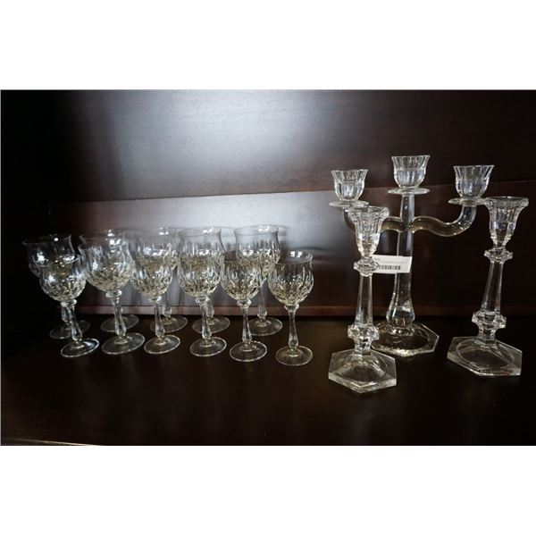 LOT OF CRYSTAL STEMWARE AND HEAVY CANDLESTICKS