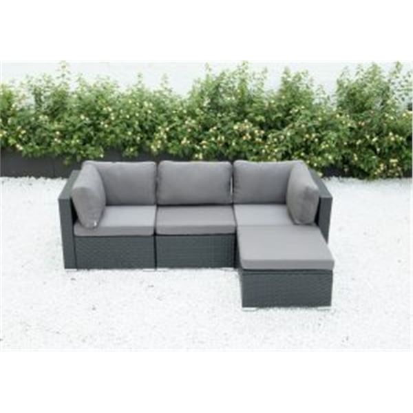 FLOOR MODEL RATTAN OUTDOOR 4 PIECE MODULAR SECTIONAL SOFA W/ DARK GREY CUSHIONS - RETAIL $1299 POWDE