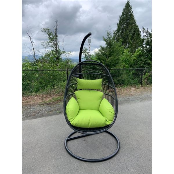 BRAND NEW GREEN SINGLE HANGING EGG CHAIR - RETAIL $949 W/ NECK PILLOW, FOLDABLE FRAME, POWDER COATED