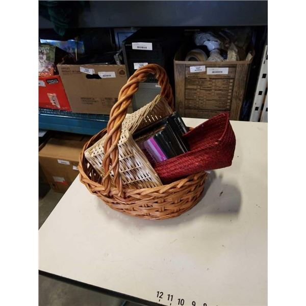 Lot of wicker baskets and DVDs