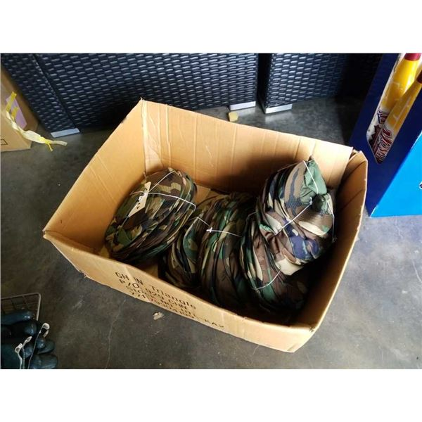 Box of new camouflage hats
